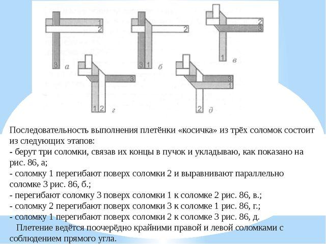 Последовательность выполнения плетёнки «косичка» из трёх соломок состоит из с...