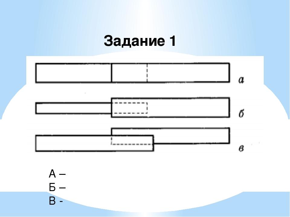 Задание 1 А – Б – В -