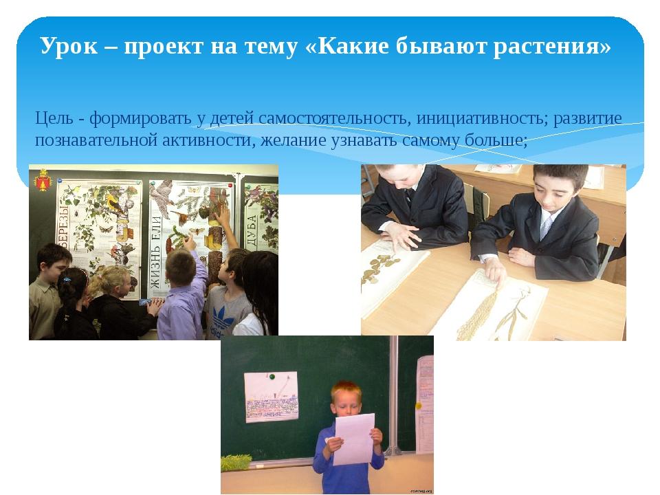 Урок – проект на тему «Какие бывают растения» Цель - формировать у детей само...