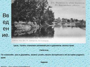 Цель. Узнать значение названий рек и деревень своего края. Гипотеза По значен