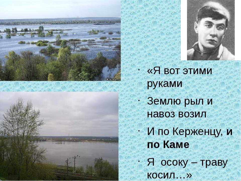 «Я вот этими руками Землю рыл и навоз возил И по Керженцу, и по Каме Я осоку...