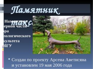 Памятник таксе Создан по проекту Арсена Аветисяна и установлен 19 мая 2006 го