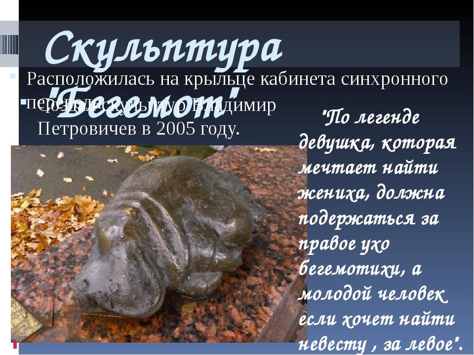 """Скульптура """"Бегемот"""" Расположилась на крыльце кабинета синхронного перевода С..."""