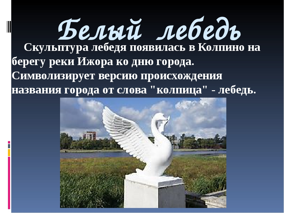 Белый лебедь Скульптура лебедя появилась в Колпино на берегу реки Ижора ко дн...