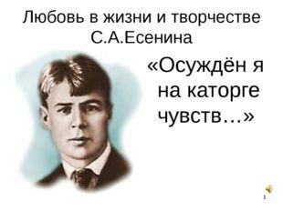 Любовь в жизни и творчестве С.А.Есенина «Осуждён я на каторге чувств…» *