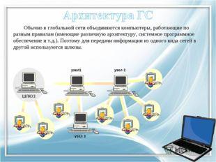 Обычно в глобальной сети объединяются компьютеры, работающие по разным правил