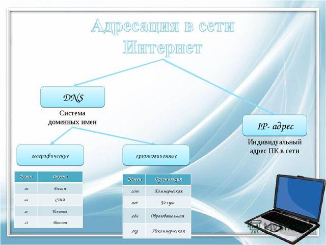 IP- адрес DNS Индивидуальный адрес ПК в сети Система доменных имен географиче...