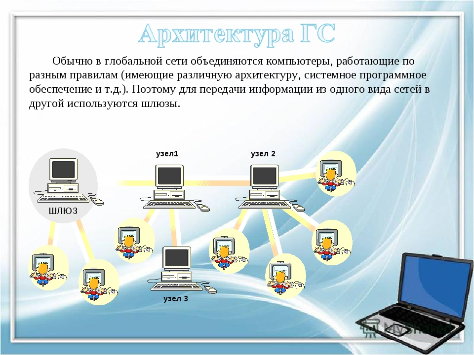 Обычно в глобальной сети объединяются компьютеры, работающие по разным правил...