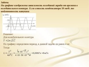 Задача. На графике изображена зависимость колебаний заряда от времени в колеб