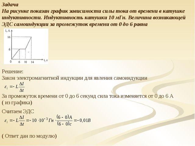 Задача На рисунке показан график зависимости силы тока от времени в катушке и...