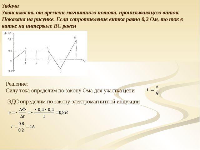 Задача Зависимость от времени магнитного потока, пронизывающего виток, Показа...