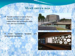 Музей снега и льда Накайя основал в городе Кага в Японии Музей снега и льда,