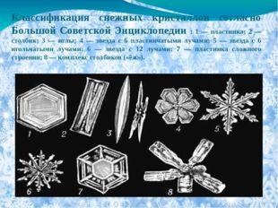 Классификация снежных кристаллов согласно Большой Советской Энциклопедии : 1