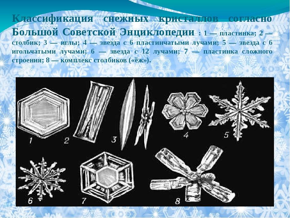 Классификация снежных кристаллов согласно Большой Советской Энциклопедии : 1...