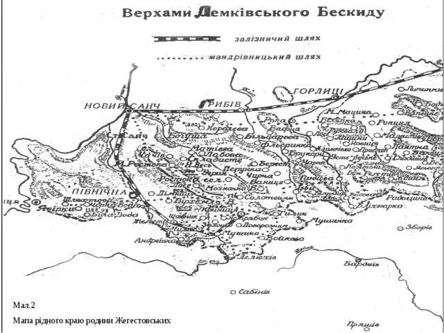 Мал.2 Мапа рідного краю родини Жегестовських