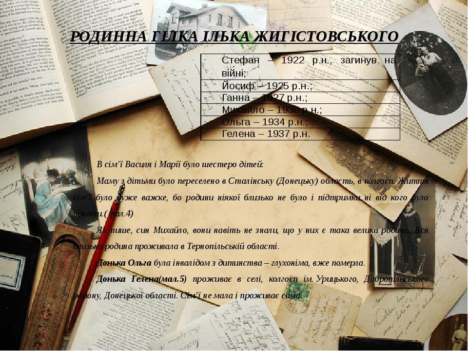 РОДИННА ГІЛКА ІЛЬКА ЖИГІСТОВСЬКОГО В сім'ї Василя і Марії було шестеро дітей:...