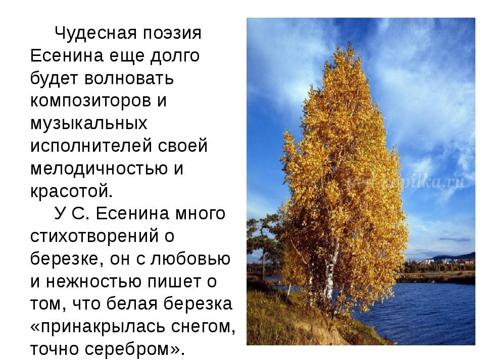 Чудесная поэзия Есенина еще долго будет волновать композиторов и музыкальны...