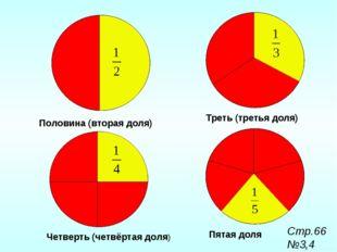 Пятая доля Треть (третья доля) Четверть (четвёртая доля) Половина (вторая дол