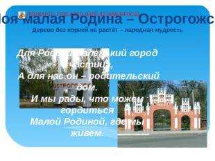 Для России маленький город – частица, А для нас он – родительский дом. И мы