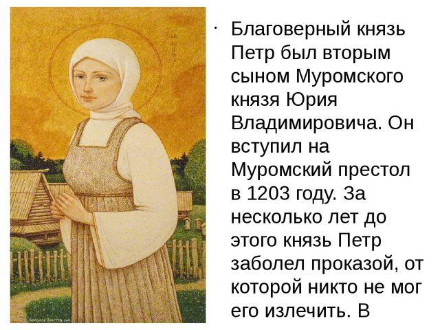 Благоверный князь Петр был вторым сыном Муромского князя Юрия Владимировича....