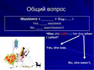 Общий вопрос Was she walking her dog when I called? Yes, she was. No, she was