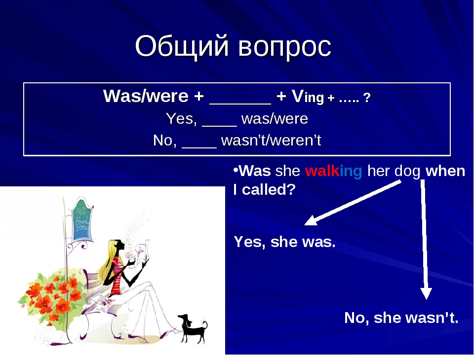 Общий вопрос Was she walking her dog when I called? Yes, she was. No, she was...