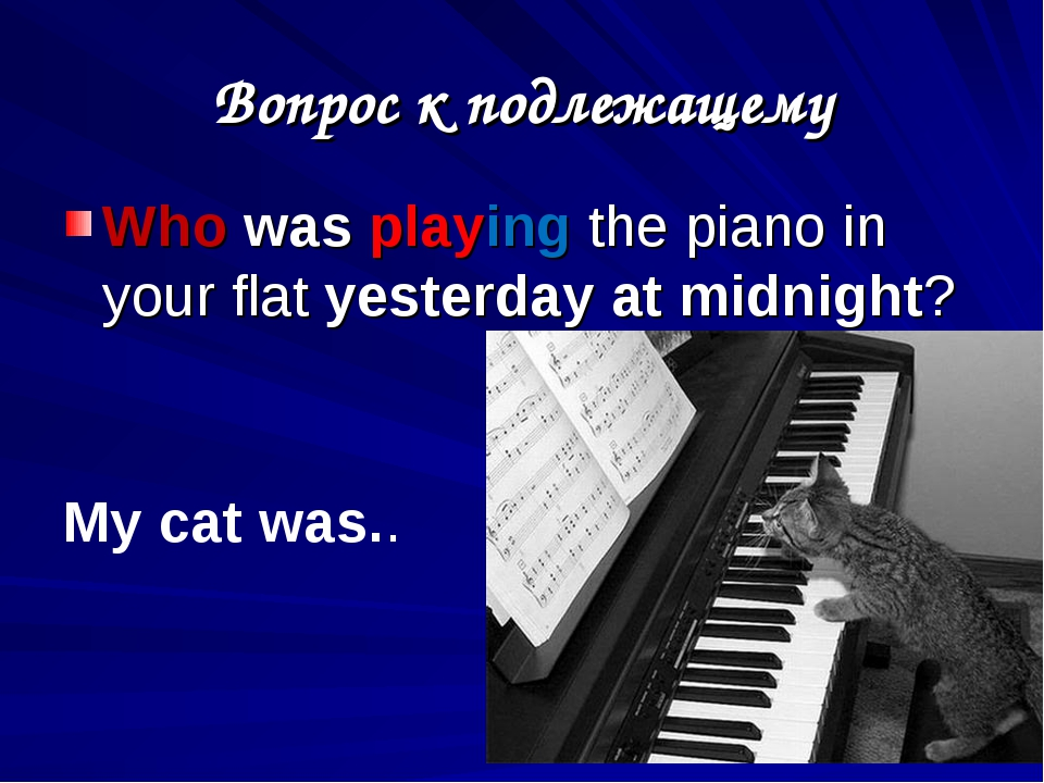 Вопрос к подлежащему Who was playing the piano in your flat yesterday at midn...