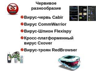 Вирус-червь Cabir Вирус CommWarrior Вирус-Шпион Flexispy Кросс-платформенный