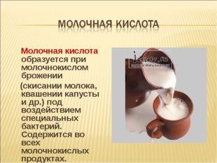 Молочная кислота образуется при молочнокислом брожении (скисании молока, ква