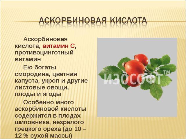 Аскорбиновая кислота, витамин С, противоцинготный витамин Ею богаты смородин...