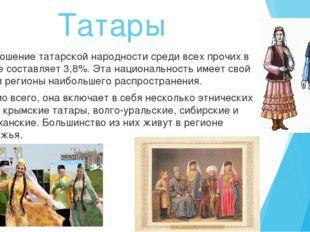Татары Соотношение татарской народности среди всех прочих в стране составляет