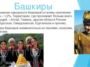 Башкиры Соотношение народности башкиров ко всему населению страны – 1,2%. Тер