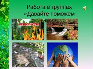 Работа в группах «Давайте поможем природе»