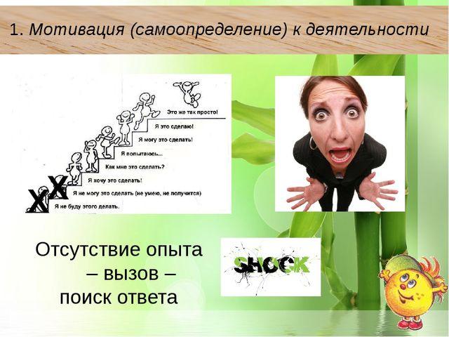 1.Мотивация (самоопределение) к деятельности Отсутствие опыта – вызов – пои...