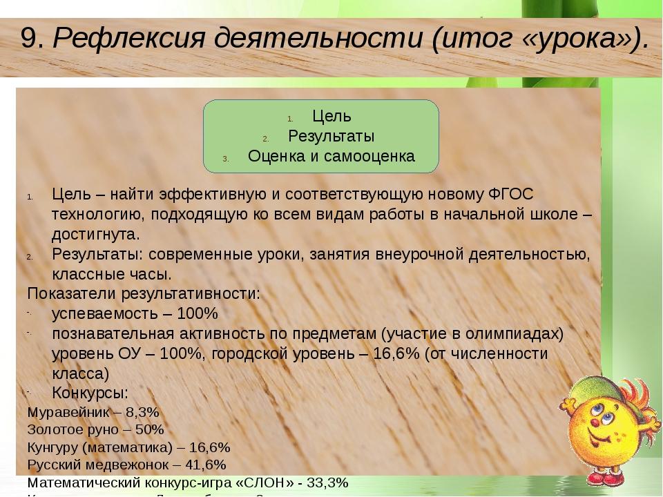 9.Рефлексия деятельности (итог «урока»). Цель Результаты Оценка и самооценк...
