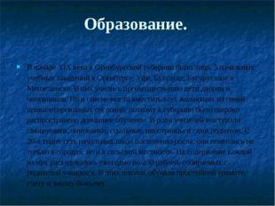 Образование. В начале XIX века в Оренбургской губернии было лишь 5 начальных