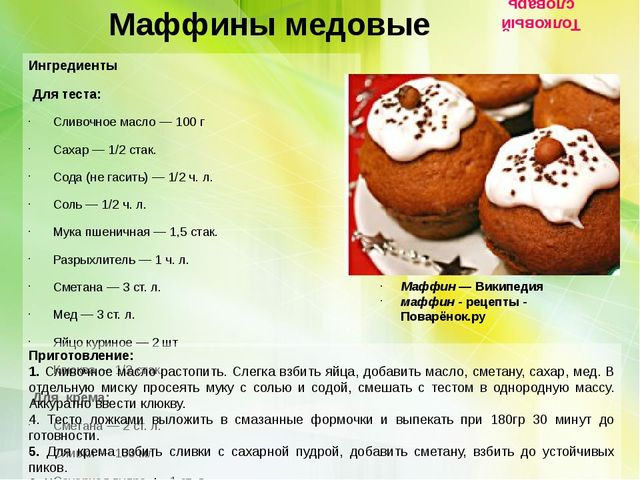 Маффины медовые Ингредиенты  Для теста: Сливочное масло — 100 г Сахар — 1...