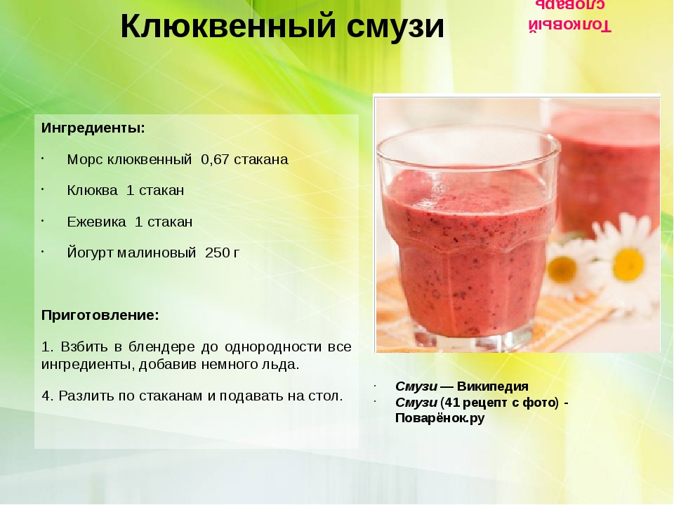 Клюквенный смузи Ингредиенты: Морс клюквенный  0,67 стакана Клюква  1 стак...