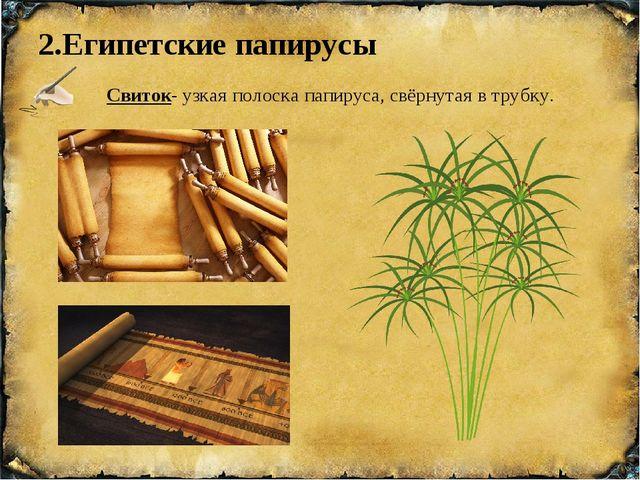 2.Египетские папирусы Свиток- узкая полоска папируса, свёрнутая в трубку.