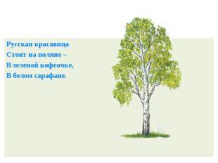 Русская красавица Стоит на поляне – В зеленой кофточке, В белом сарафане.