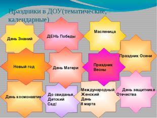День Знаний День космонавтики Праздники в ДОУ(тематические, календарные) ДЕН