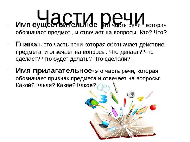 Части речи Имя существительное- это часть речи , которая обозначает предмет ,...