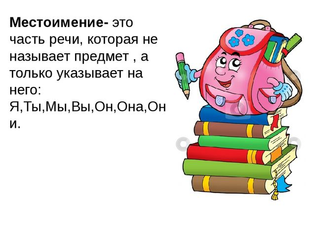Местоимение- это часть речи, которая не называет предмет , а только указывает...