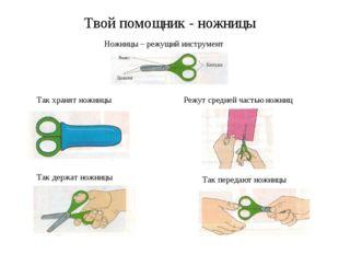 Твой помощник - ножницы Ножницы – режущий инструмент Так хранят ножницы Так д