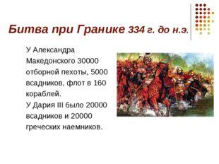 Битва при Гранике 334 г. до н.э. У Александра Македонского 30000 отборной пех