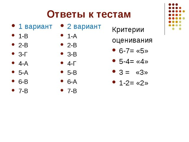 Ответы к тестам 1 вариант 1-В 2-В 3-Г 4-А 5-А 6-В 7-В 2 вариант 1-А 2-В 3-В 4...