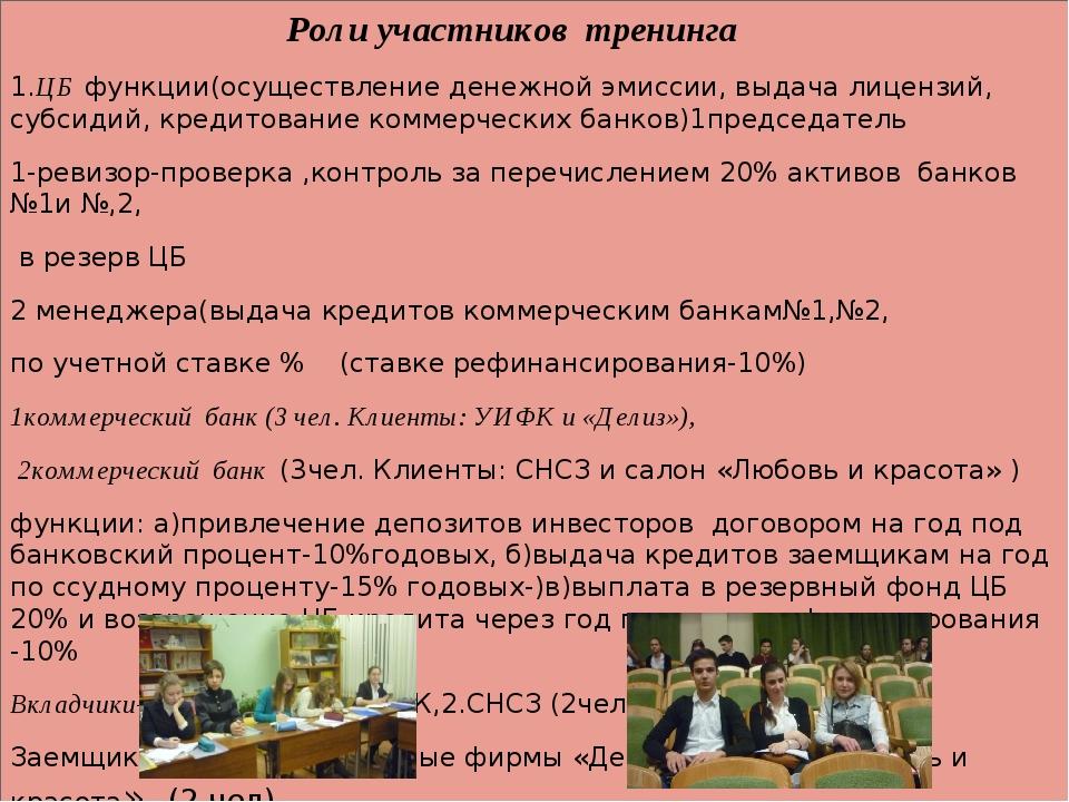 Роли участников тренинга 1.ЦБ функции(осуществление денежной эмиссии, выдача...