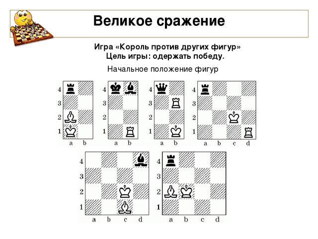 Великое сражение Игра «Король против других фигур» Цель игры: одержать побед...