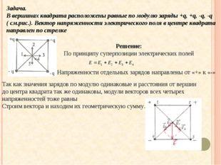 Задача. В вершинах квадрата расположены равные по модулю заряды +q, +q, -q, -