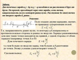 Задача. Два точечных заряда q1= 2q и q2= -q находятся на расстоянии d друг о